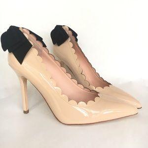 NIB Kate Spade Emana patent nude heels bow 7.5